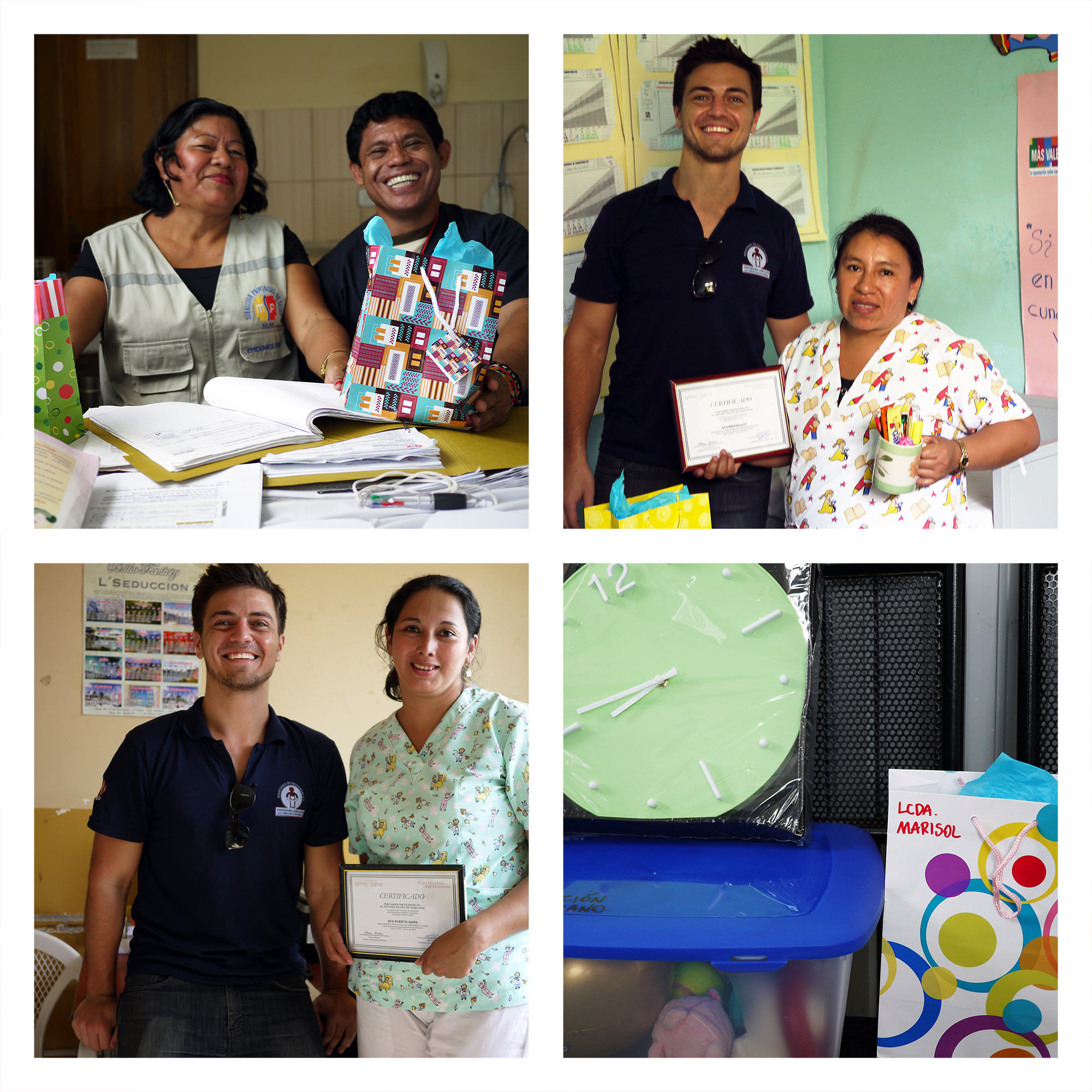 """Alma Sana is done in Ecuador! Here are some photos of Alex, our Ecuador Project Coordinator, giving thank-you presents to our study's nurses during his last clinic visits. Here is what he had to say about his final days in Tena:  """"It's hard to believe, but we're done in the field. Eight months flew by! I've felt spoiled since day one, getting to work with fantastic people like Marisol, Nancy, Fernanda, Johnson, Estefanía, and all of our other Ministry of Health partners. They work as hard as can be, and they do it with a smile. This project wouldn't have been possible without the people you see here, and I'll miss them terribly when I go.  As we debriefed — going over statistics and laughing as we exchanged our last stories — our nurses gave helpful feedback about how Alma Sana can improve and urged us to come back soon.  'These bracelets are really important,' one nurse said. 'They're easy to use, mothers loved them, and they can help us improve vaccination. It's been a pleasure to work with you, we'll miss you, and we hope you come back soon! We'll be looking forward to it.'  As will we! Muchísimas gracias a todos for a fantastic job well done. Hope to see you again soon!"""" Photo posted: January 30, 2014"""