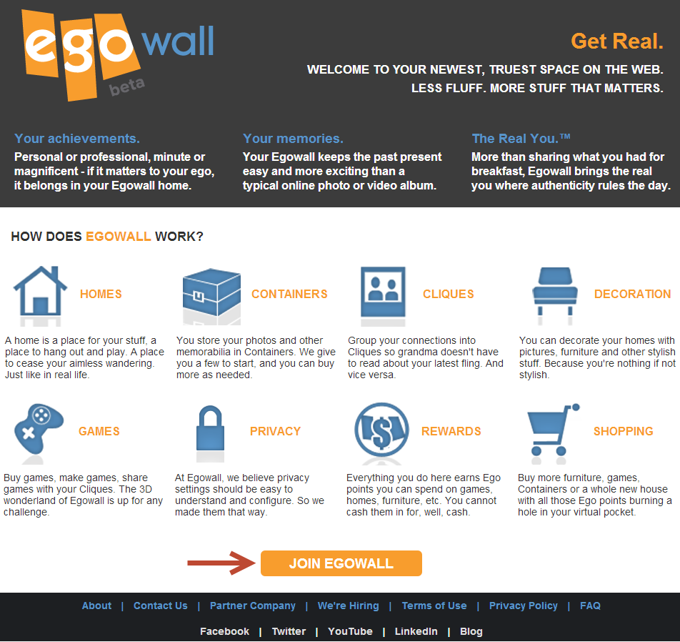 The Egowall Landing Page