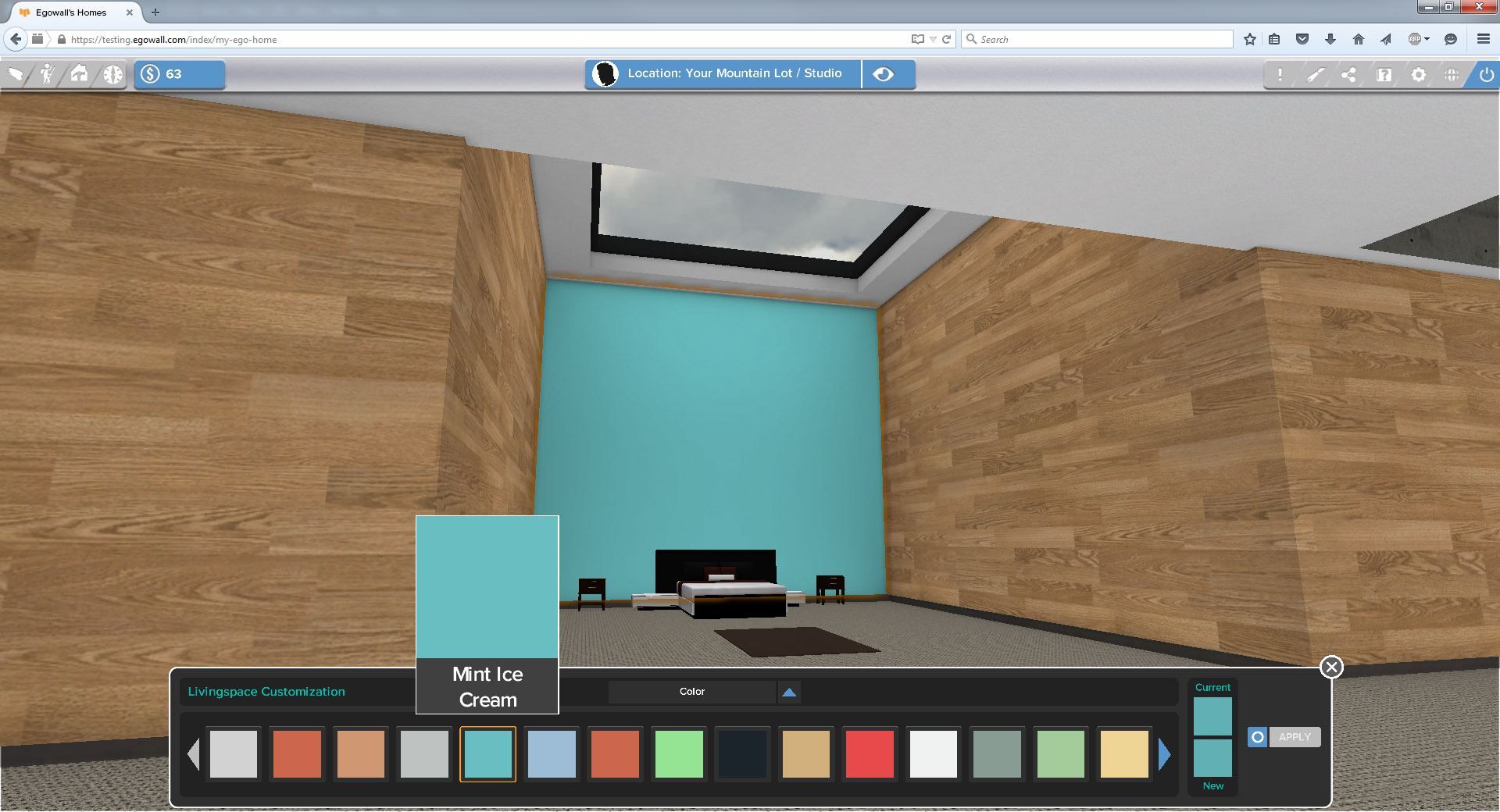 To customize a space, click customize in the upper left corner, then click on a wall or other surface.