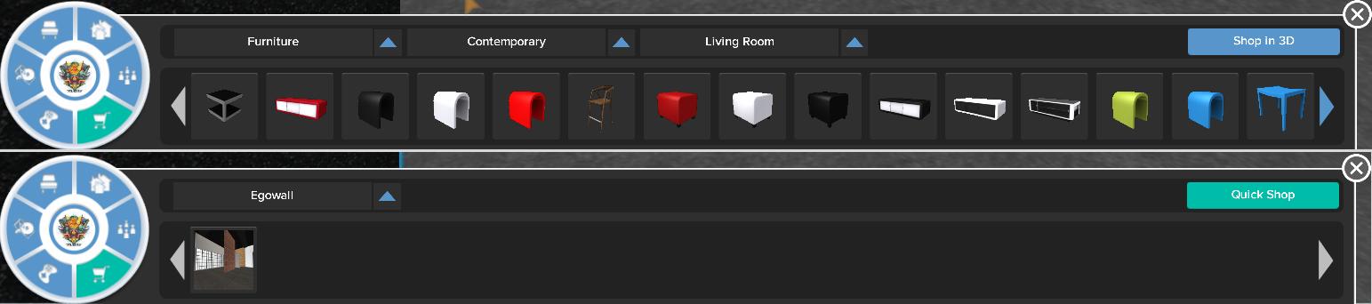 Egowall Quick Shop Mode (top) vs. Shop in 3D Mode (bottom)