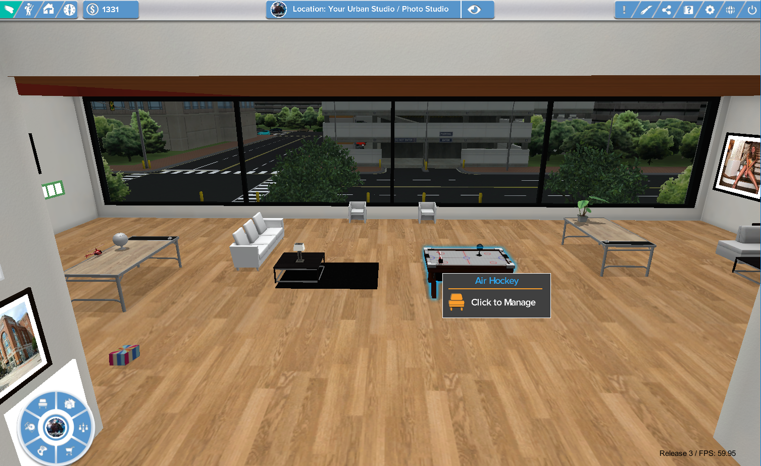 High Perspective View of a Living Space With Fly Mode Enabled