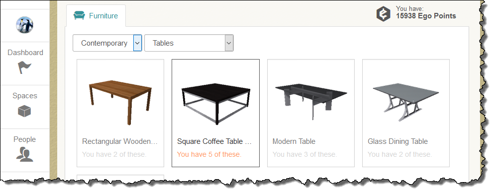 Select Furniture Object For Placement