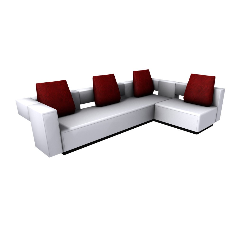 Modern Sectional Sofa - Red/White