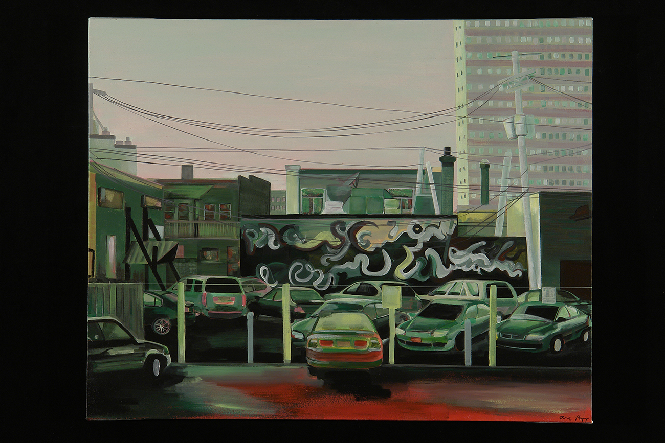 "Dinkytown: Dichotomy in Red and Green   acrylic on canvas  2012  24"" x 30"""