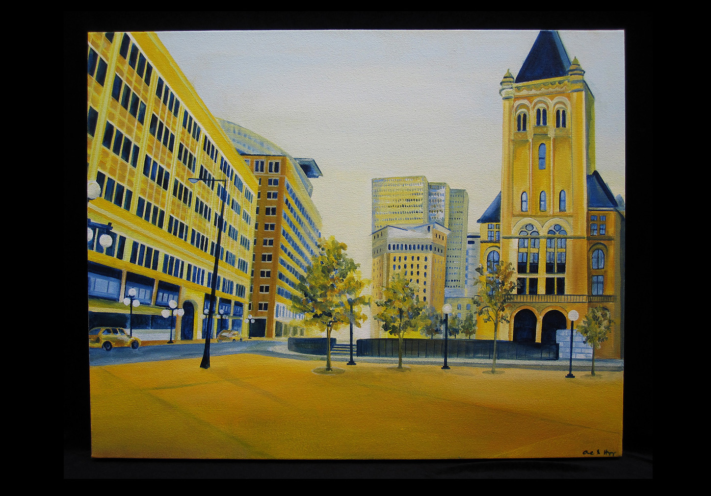 "St. Peter St. and Washington Ave.    acrylic on canvas  2012  24"" x 30"""