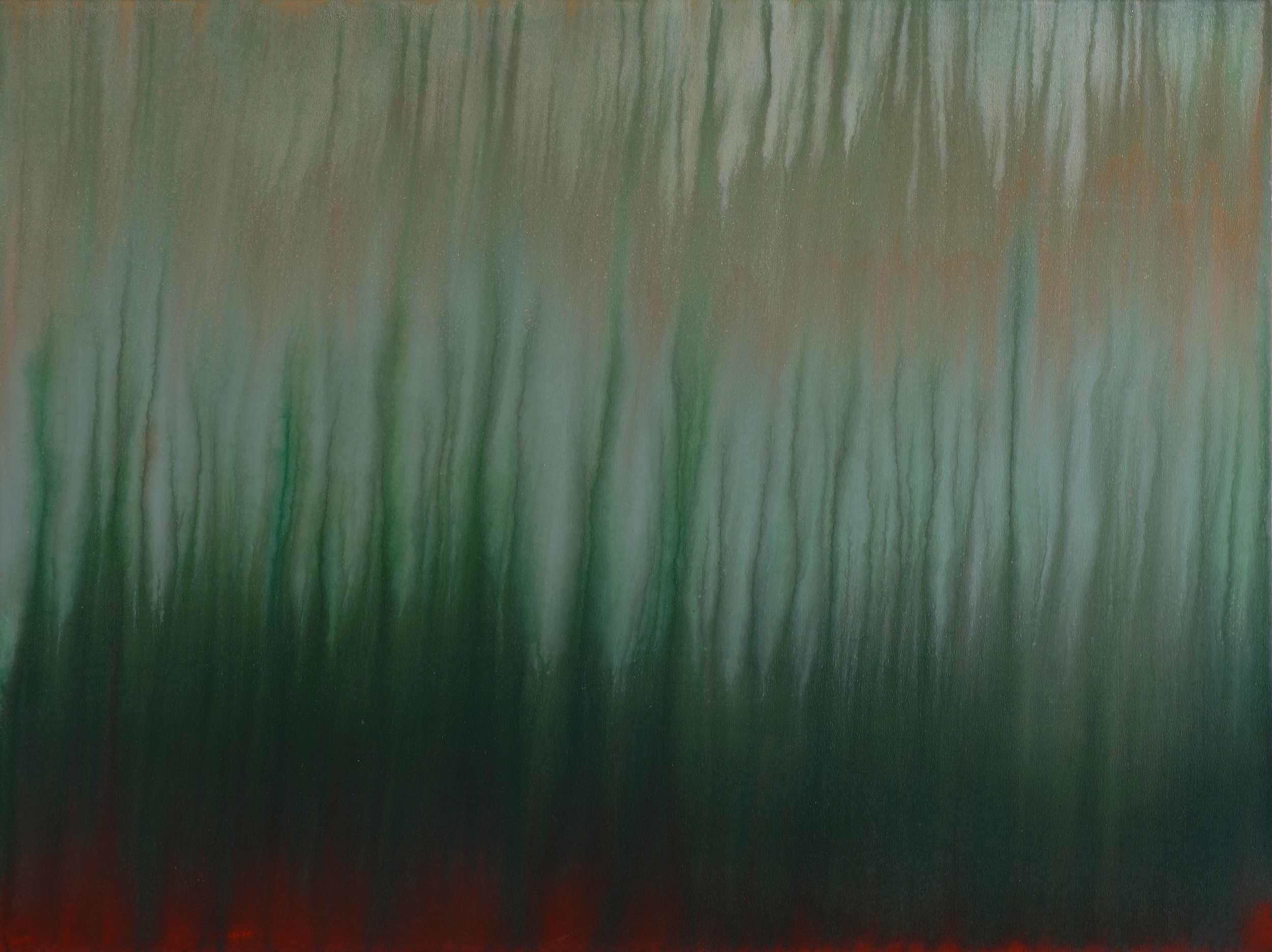 """untitled no. 2 (Mississippi red and green)   acrylic and latex on canvas  36"""" x 48"""" (SOLD)"""