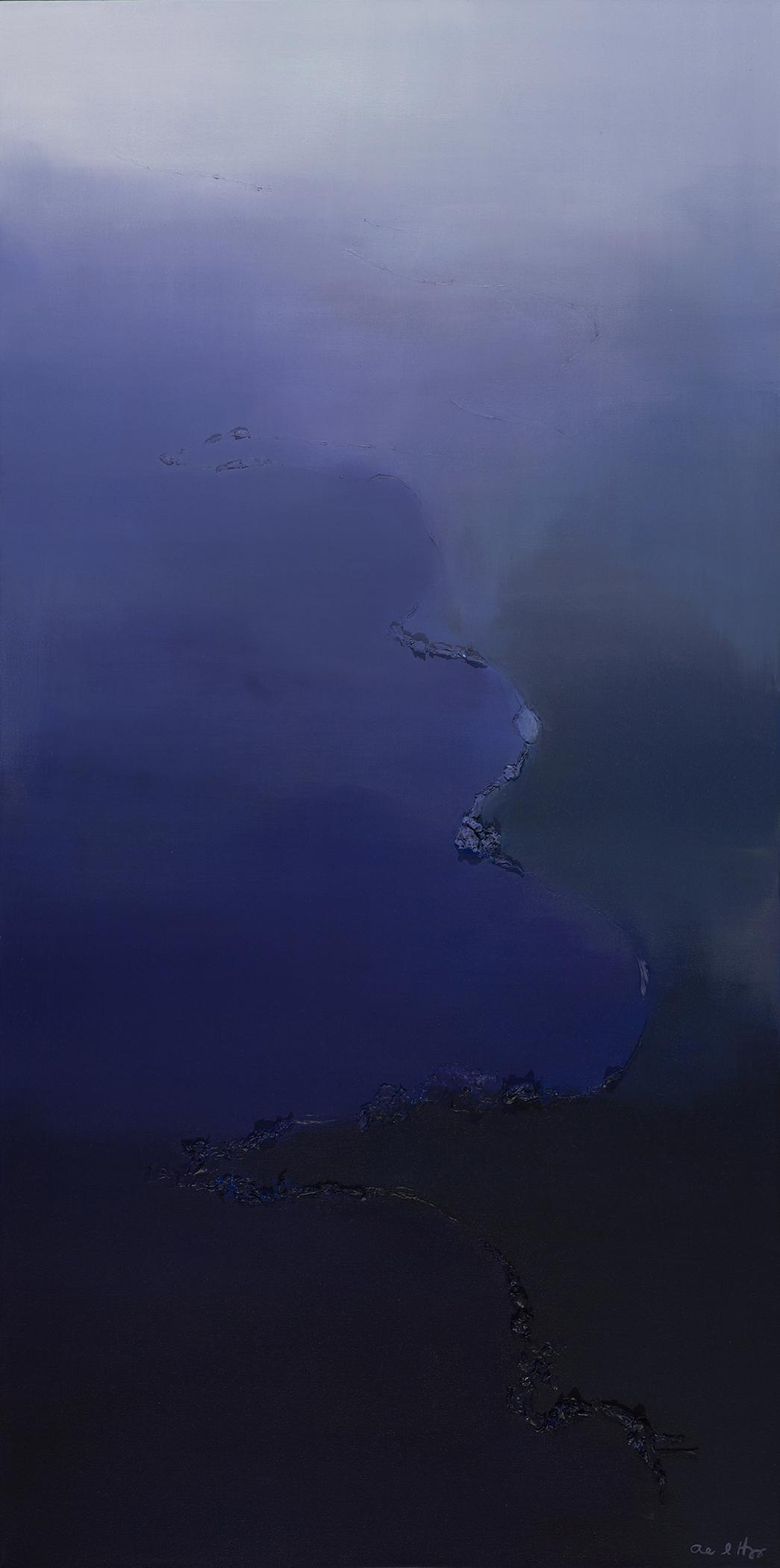 """Shoreline No. 3   acrylic on canvas  48"""" x 24""""  2015 (sold)"""