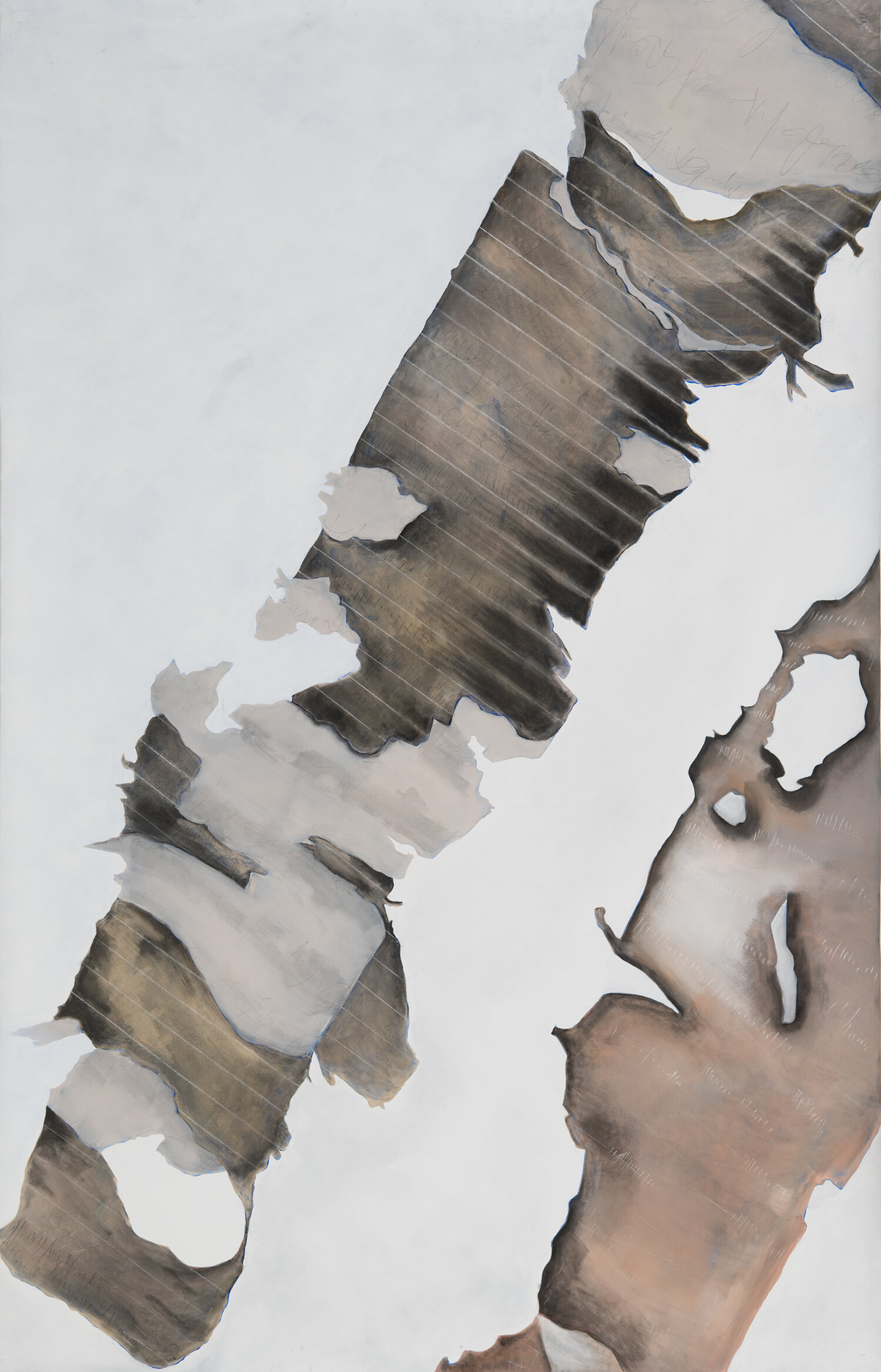 "Betula   acrylic, charcoal and chalk on canvas  120"" x 74""  2019  (from "" Betula "" series)"