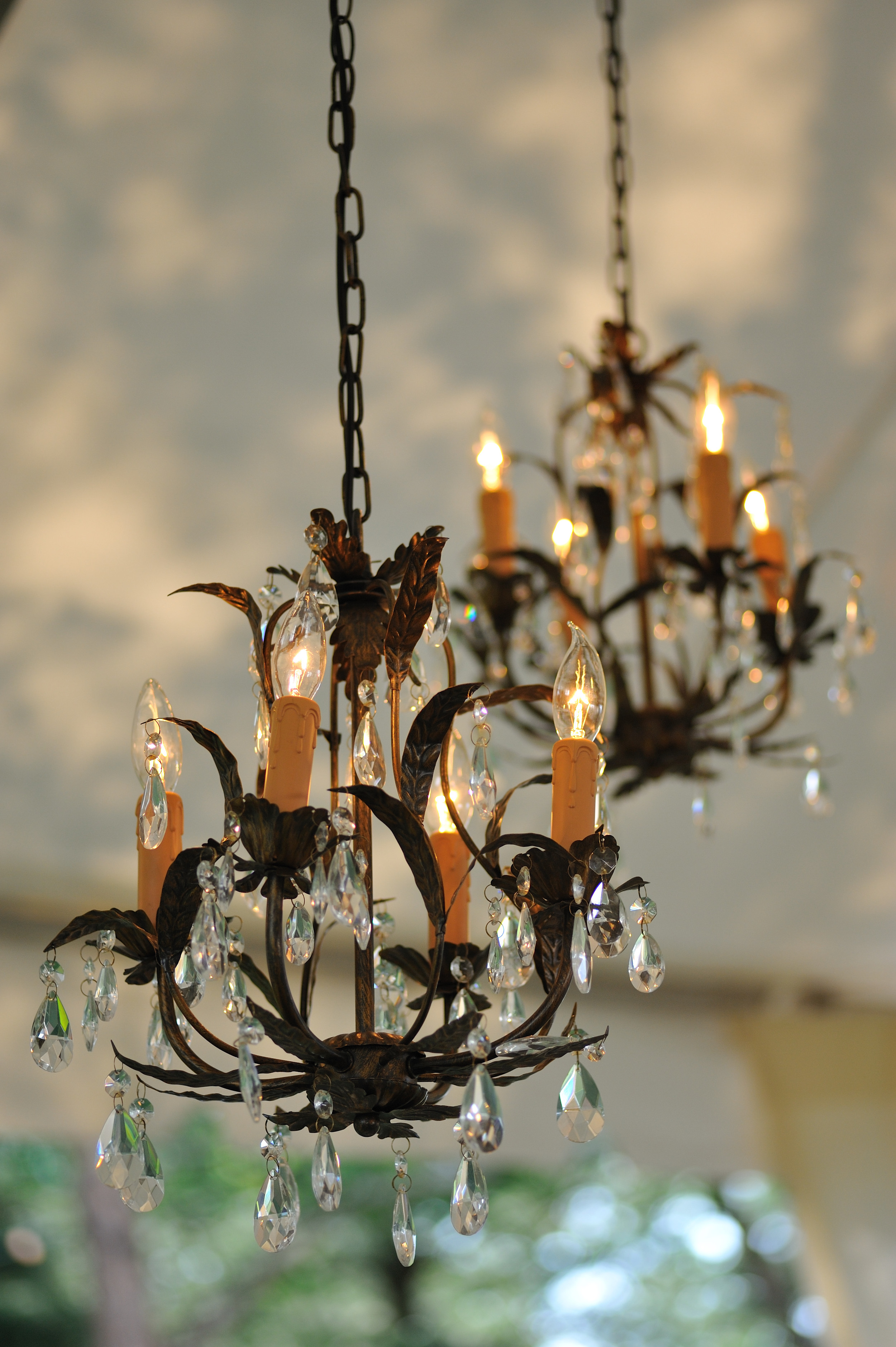 chandelier - wrought iron with hanging crystals  2.jpg