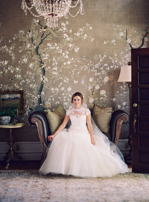 The bride to be looks stunning in this classic portrait taken just before her wedding at Cheekwood Botanical Gardens. Wedding planning and design by Big Events Wedding.