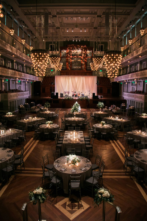 A view of the stage just before the Brown Wedding Reception at Schermerhorn Symphony Center in Nashville, TN. Wedding planning & design by Big Events Wedding.