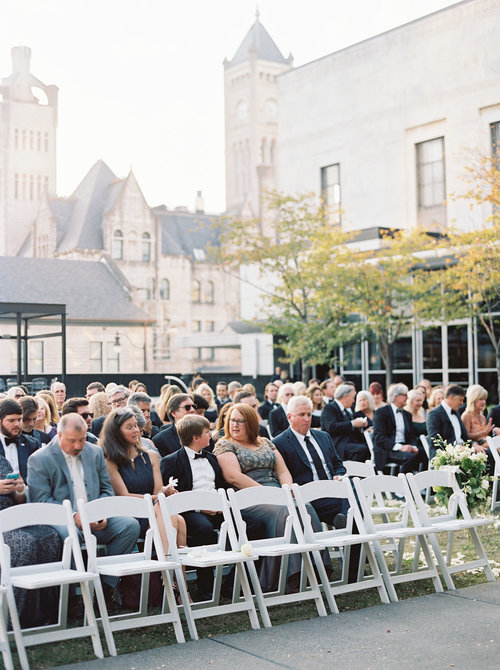 Guests await the procession just before this lavish wedding at the Frist Center for the Visual Arts in Nashville, TN. Wedding planning & design by Big Events Wedding.