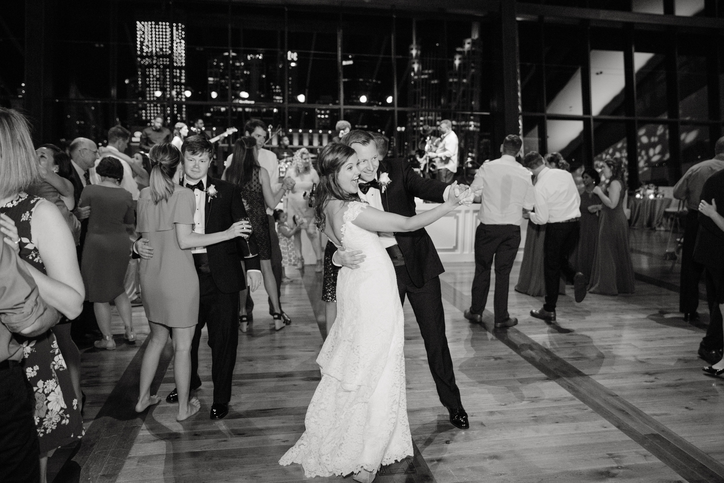 Guests hit the dancefloor at this lavish wedding reception at the Country Music Hall of Fame in downtown Nashville, TN. Wedding planning & design by Big Events Wedding.