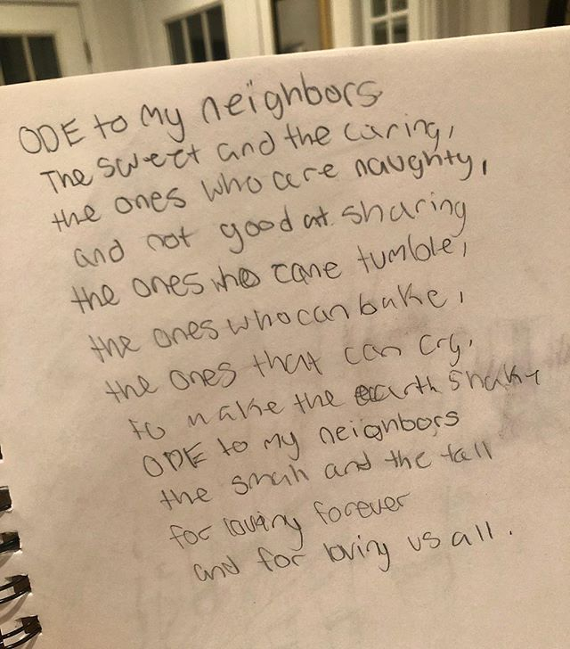 "If she was on Insta, she'd be so mad at me for posting this, so scroll on by and pretend you were never here! It's really just posted for the scrapbooking memory! (But seriously...it's the sweetest! We do love our amazing neighborhood!) — ""Ode to My Neighbors"" by Maillie Fuson! @joeyfuson"