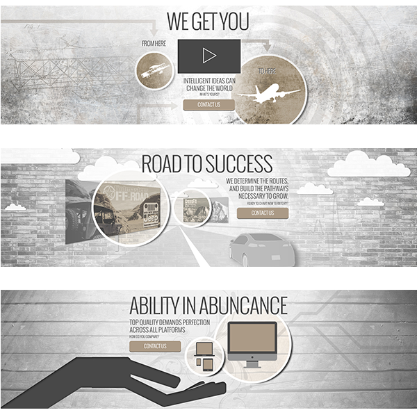 Final layouts of homepage slider images, highlighting our offerings.