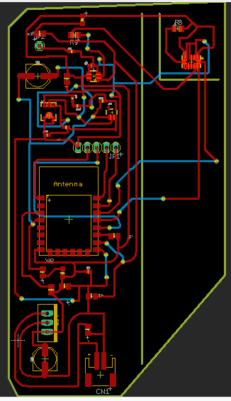 Most recent board with caps in the wrong spot. Added more lines in for cutting. Unsure why the bantam didn't lift in between cuts on the dimension layer though.
