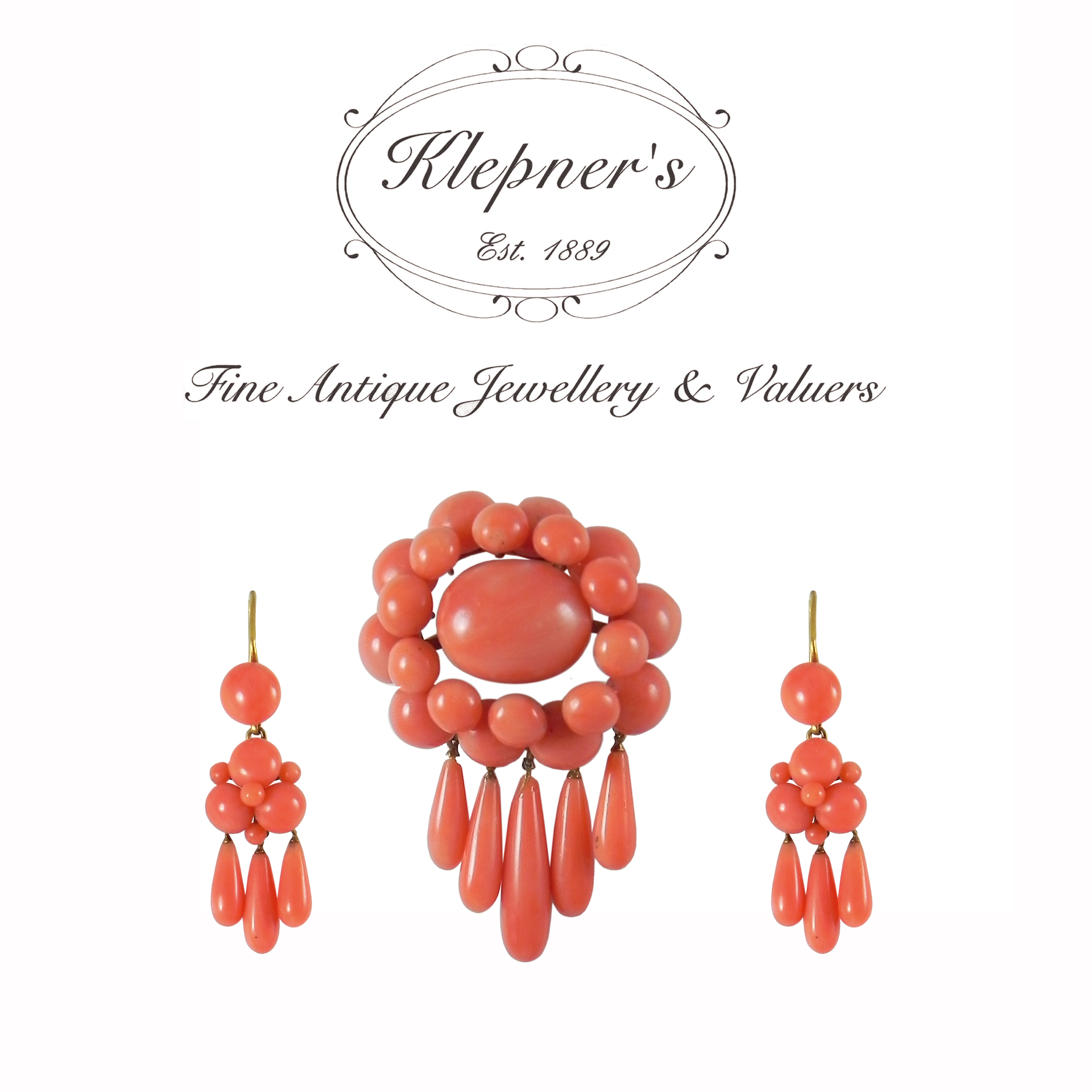 Antique Victorian Coral Earrings and Brooch.JPG