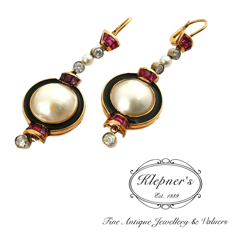 Art Deco Pearl Diamond and Ruby Drop Earrings.jpg