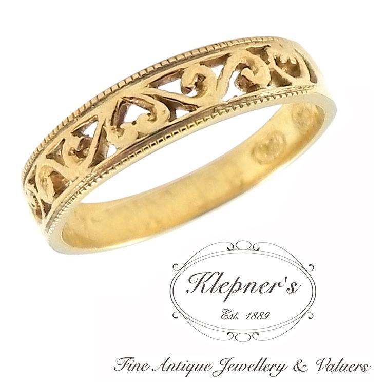 Filigree Wedding Band.Vintage Inspired Filigree Wedding Band Klepner S Fine Antique Jewellery Valuers Antique Engagement Rings
