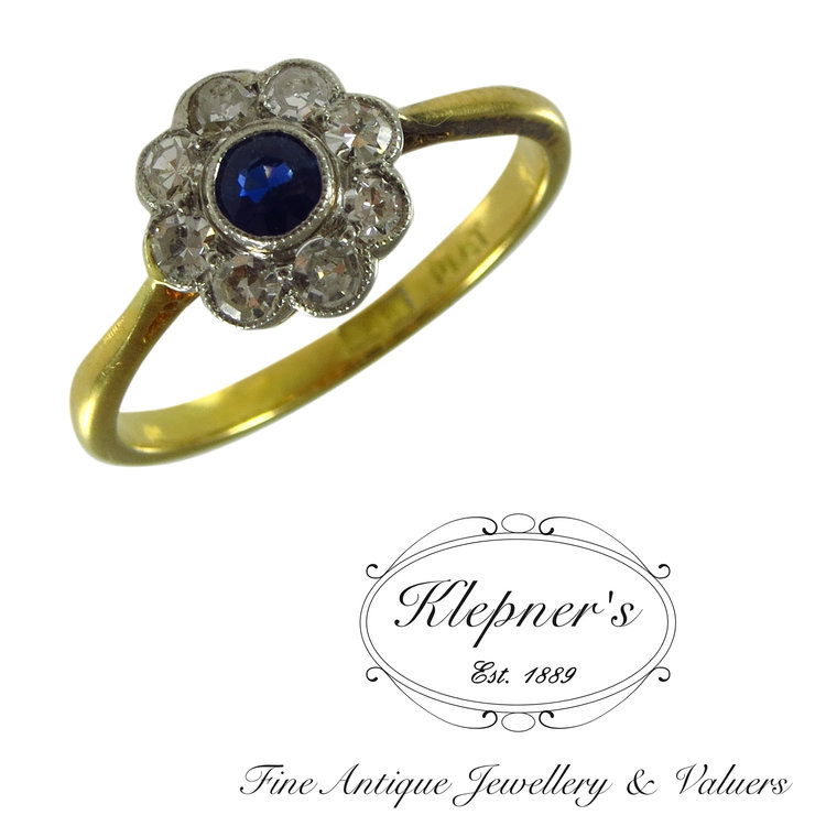 dd160a81c3648 Sapphire & Diamond Daisy Cluster Ring — Klepner's Fine Antique Jewellery &  Valuers- Antique Engagement Rings