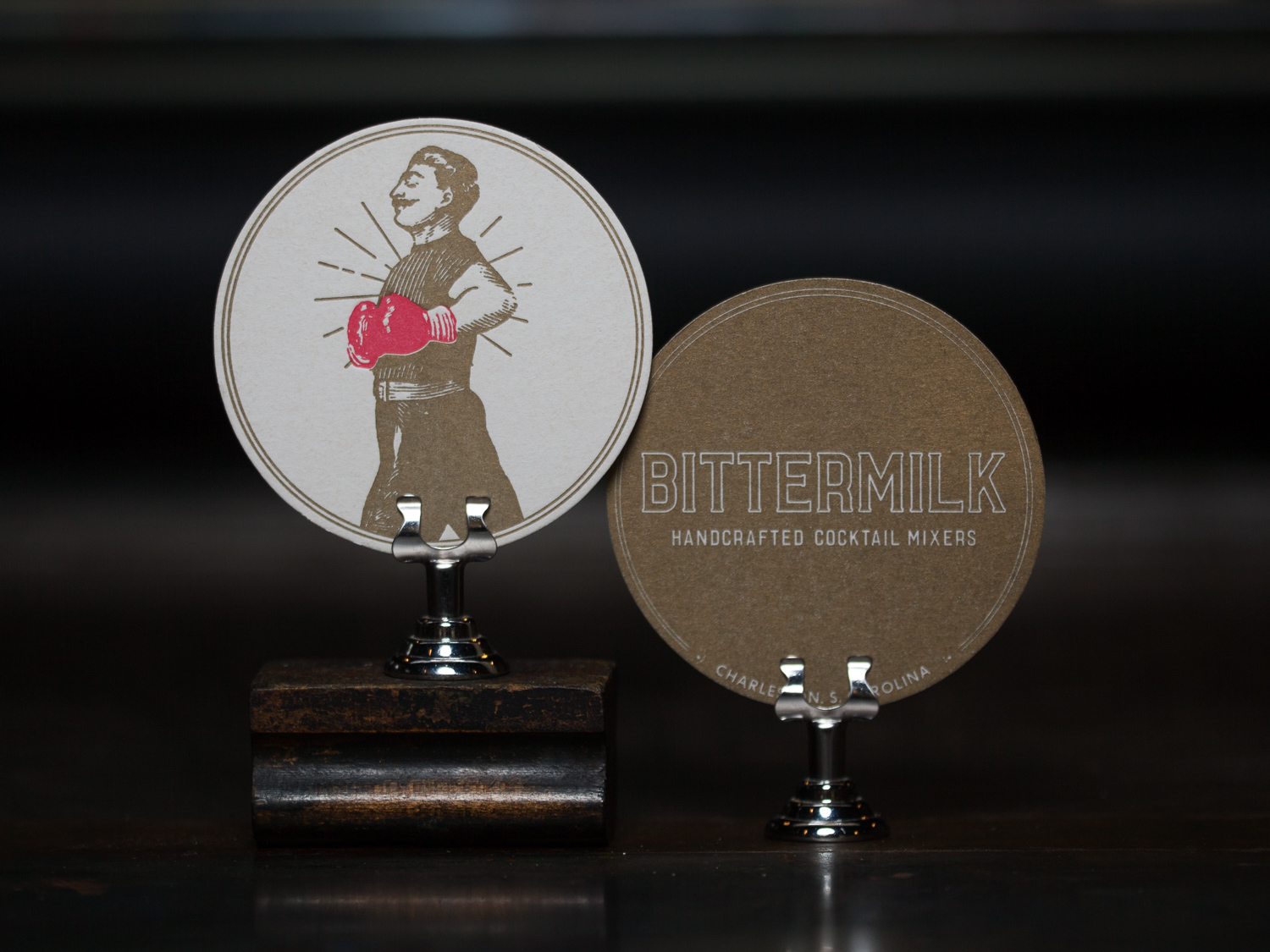 Customer:   Bittermilk   Artwork by:   Bittermilk   Paper Stock:  60pt coaster stock  Process:  2C Letterpress / 1C Letterpress  Press:  Heidelberg Windmill