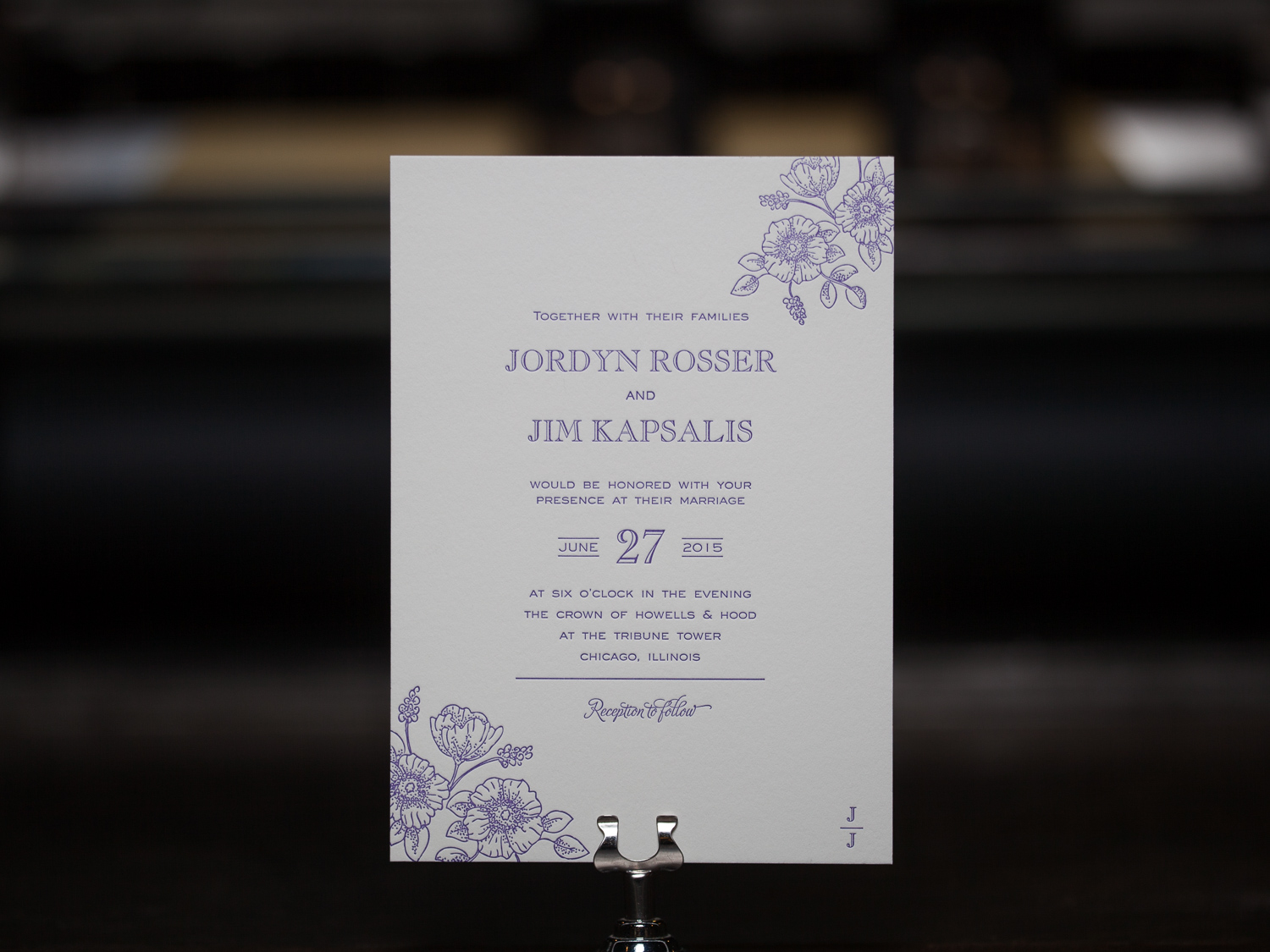 Customer:  Jordyn & Jim  Artwork by:  The Laughing Owl Press Co.  Paper Stock:  110lb Lettra Pearl  Process:  1C Letterpress / 0c,  Press:  Vandercook 219 OS