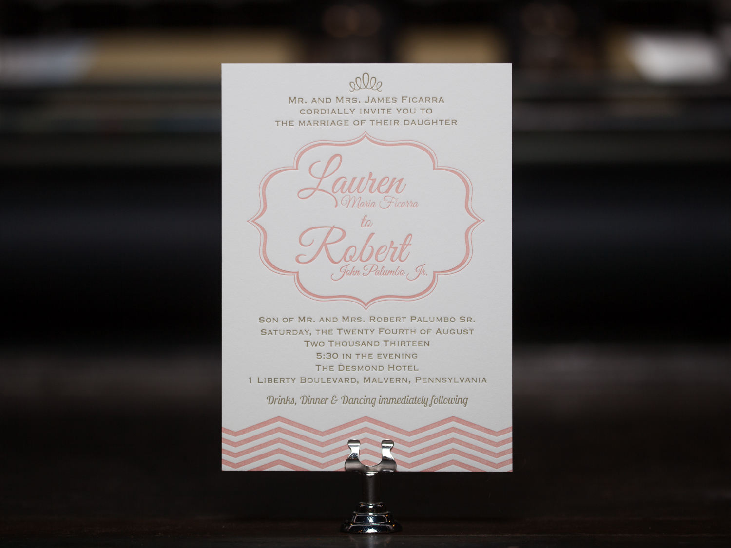 Customer:  Lauren & Robert  Artwork by:  The Laughing Owl Press Co.  Paper Stock:  110lb Lettra Pearl  Process:  2C Letterpress / 0c,  Press:  Vandercook 219 OS