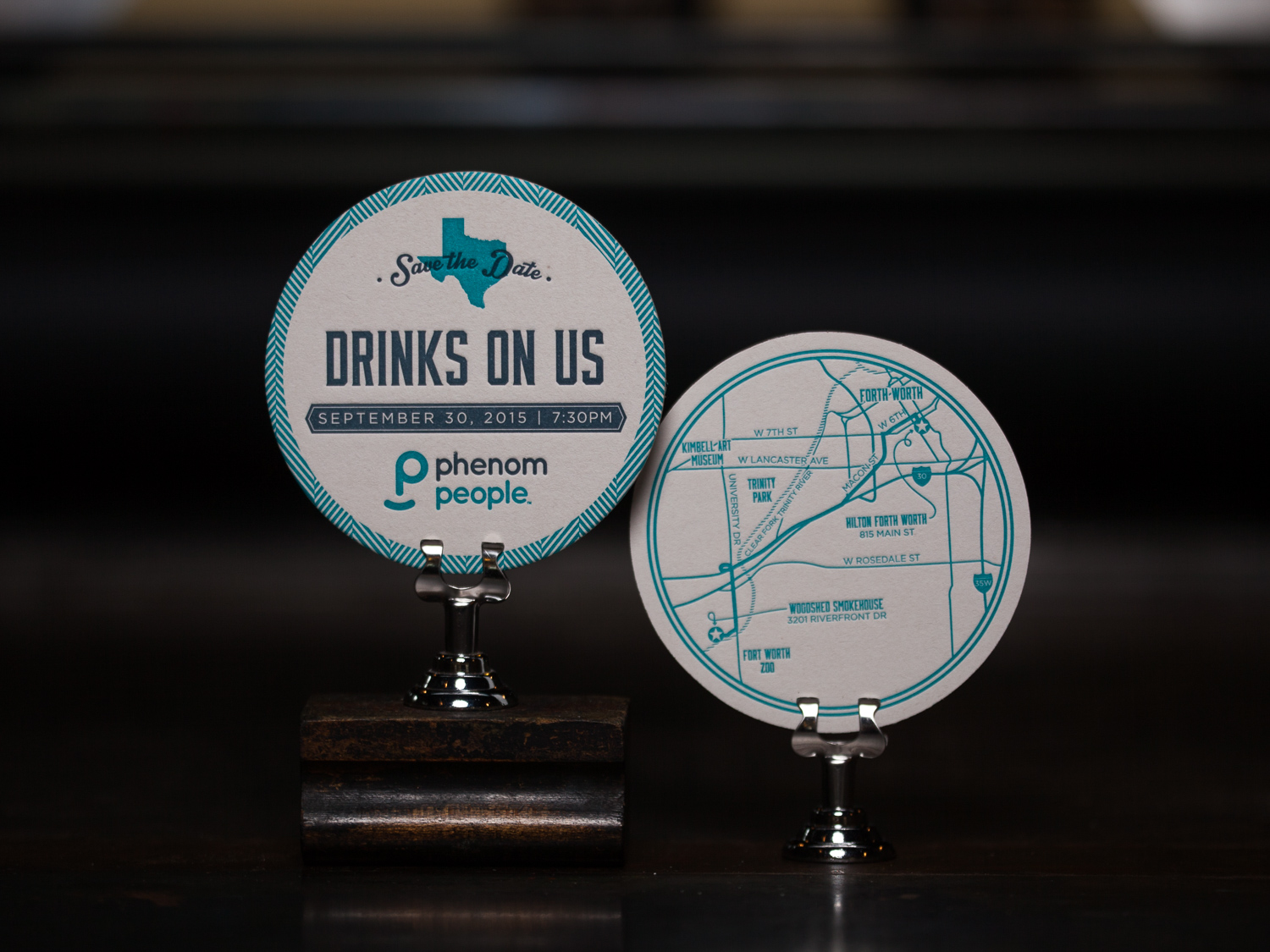 Customer:   Phenom People   Artwork by:  The Laughing Owl Press Co.  Paper Stock:  80pt. Coaster Stock  Process:  2C Letterpress / 1C Letterpress  Press:  Chandler & Price