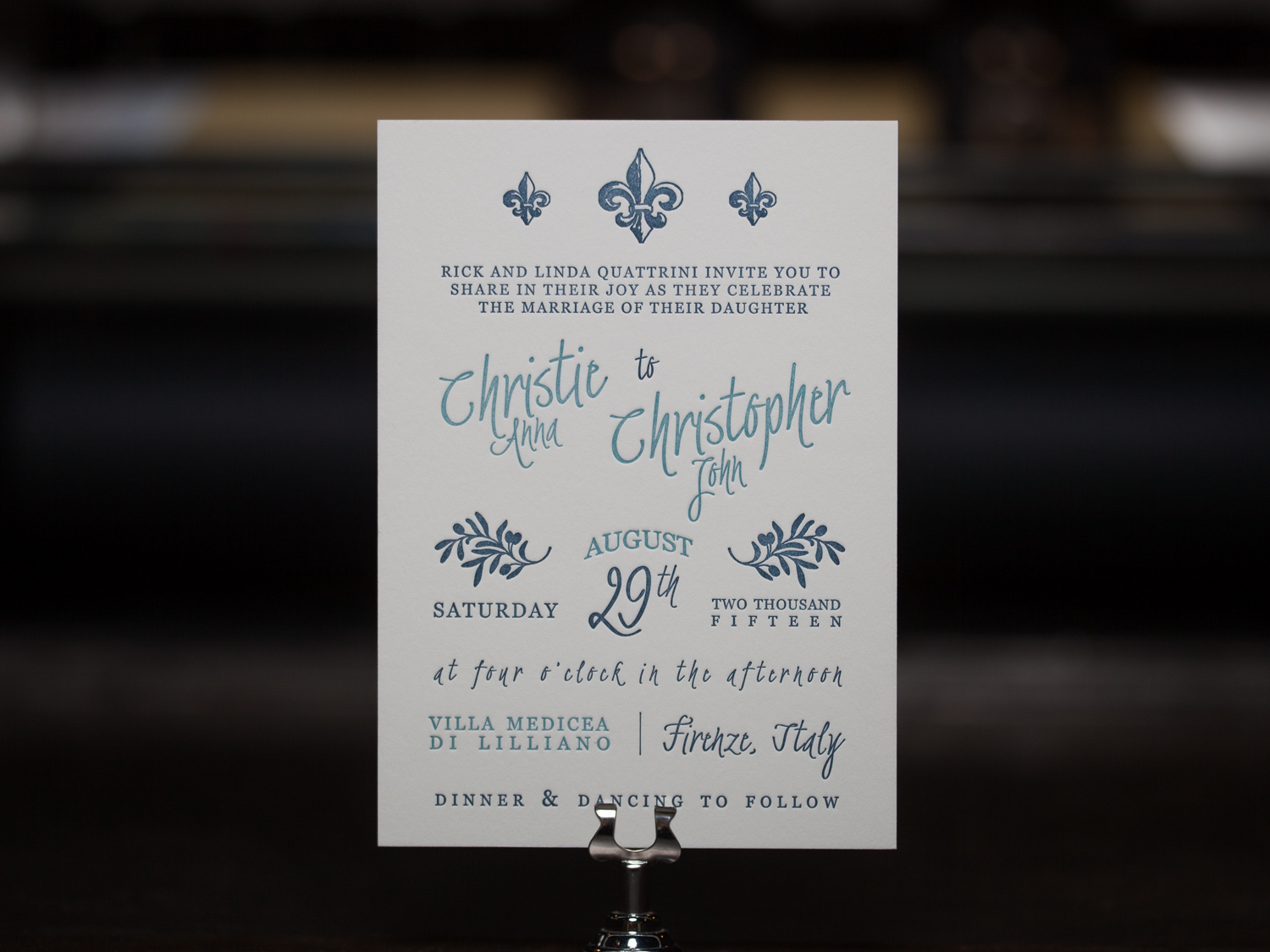 Customer:   InKBar Design Studio   Artwork by:  Katie Birch  Paper Stock:  220lb Lettra Pearl  Process:  2C Letterpress  Press:  Vandercook 219 OS
