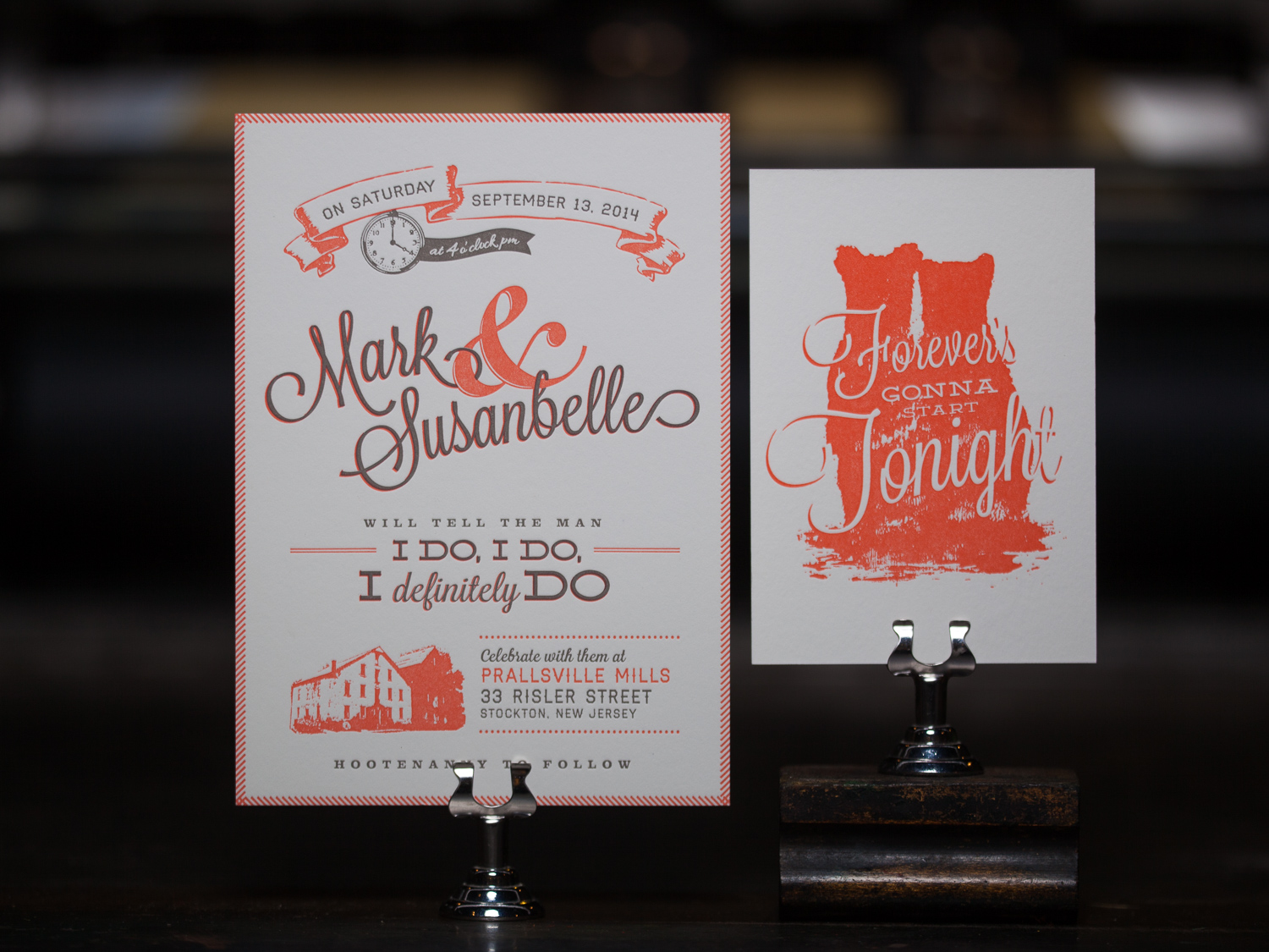 Customer:  Mark & Susanbelle  Artwork by:  Mark Dieterich  Paper Stock:  110lb Lettra Pearl, 220lb Lettra Pearl  Process:  2C Letterpress / 0c, 1C Letterpress / 1C Letterpress  Press:  Vandercook 219 OS