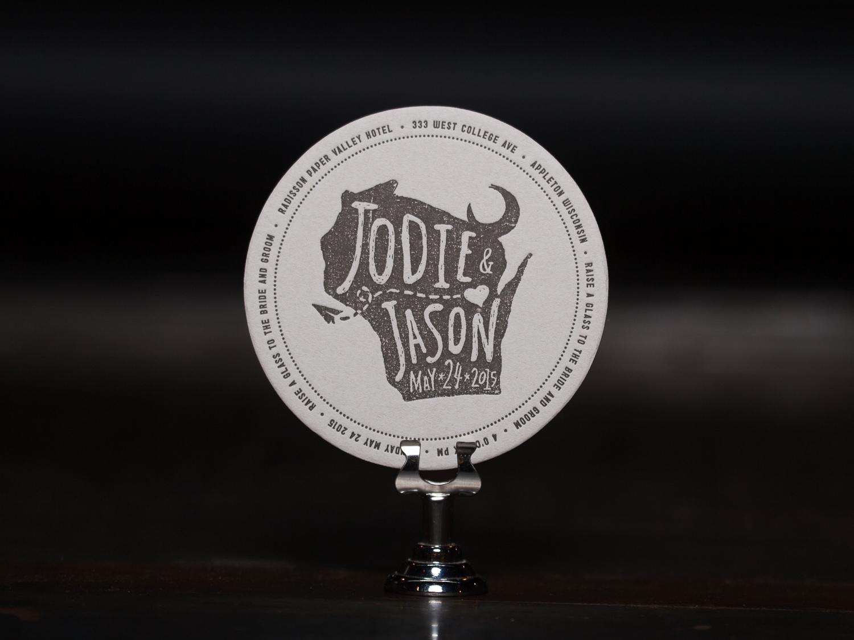 Customer: Jodie & Jason  Artwork by: Jason Thiel  Paper Stock: 80pt. Coaster Stock  Process: 1C Letterpress   Press: Chandler & Price