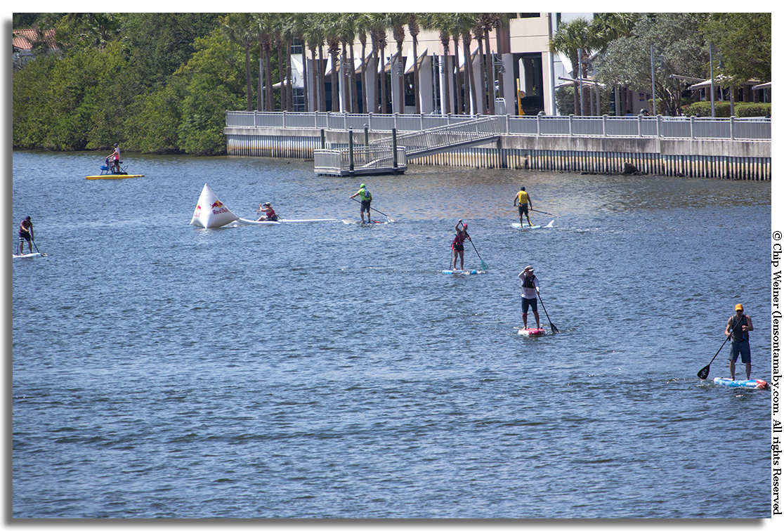 Competitors turn at he halfway point buoy in Seddon Channel close to the Tampa Convention Center for the Gasparilla Stand Up Paddle Board Invasion