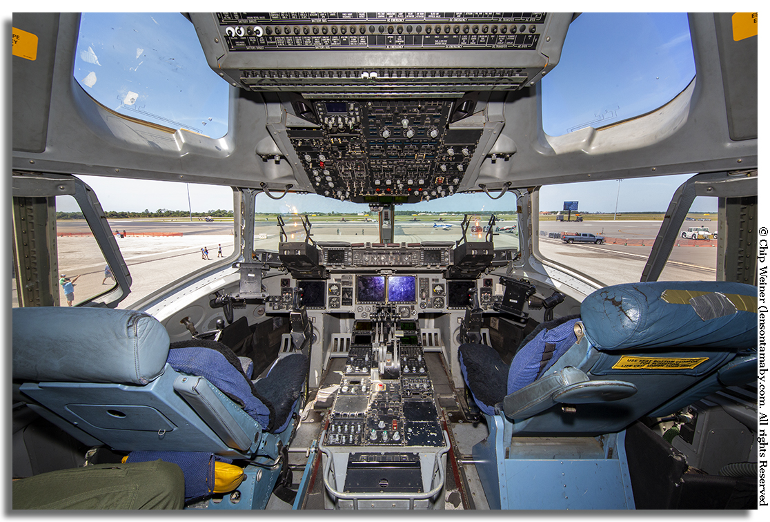 Visitors get full access to military aircraft like this C-17 Cargo Plane cockpit