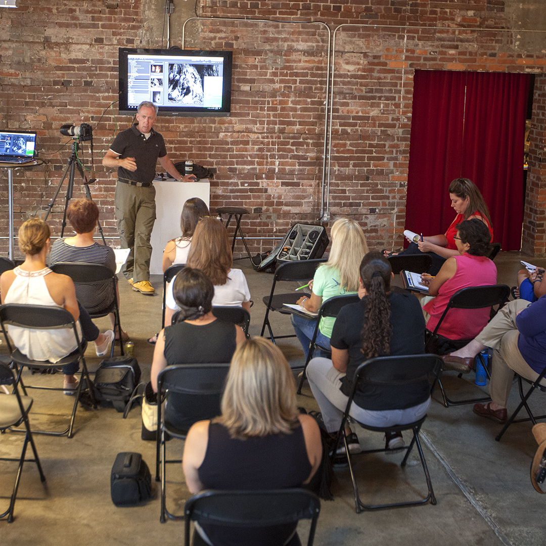 Photographer Chip Weiner gives photography instruction using live demonstrations and sample images