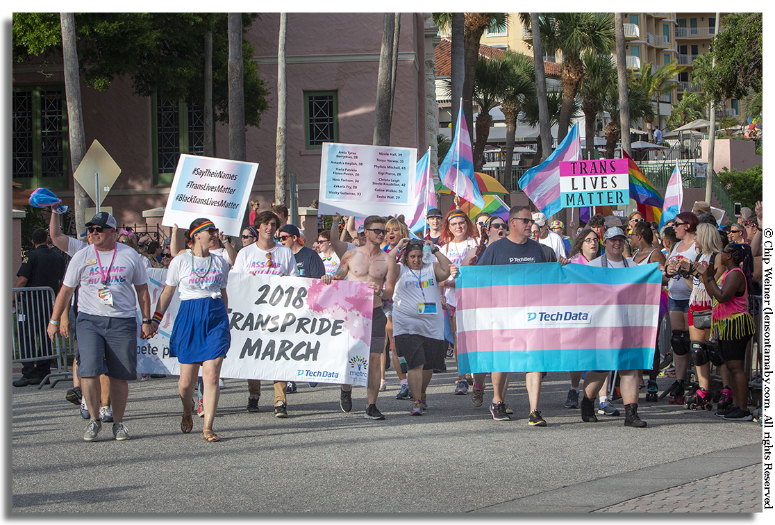 Wearing Assume Nothing T-shirts the 2018 TransPride March kicked off the parade festivities at 7 PM