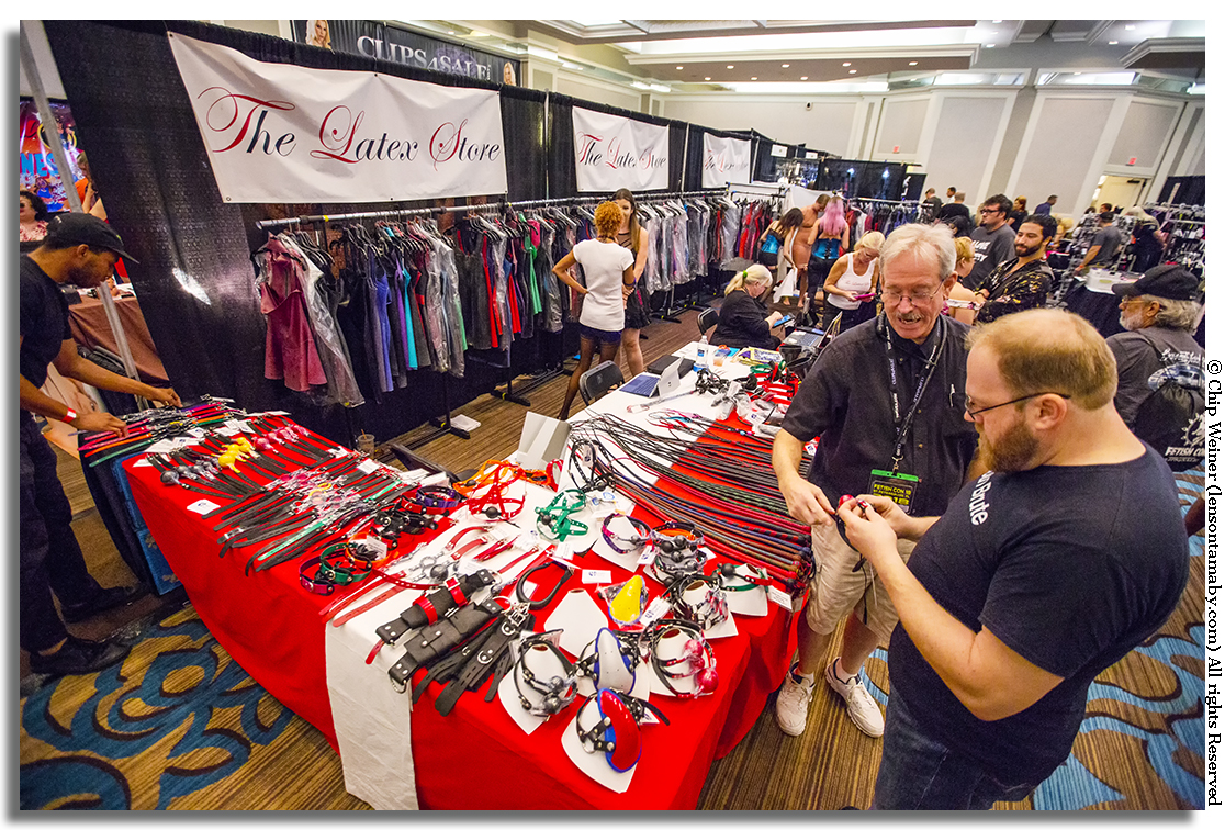 If you build it they will.... well you know the rest. The trade show offers most things kink, including latex wear, ball gags, cuffs, collars, slappers, and floggers. There were lots of people trying and buying