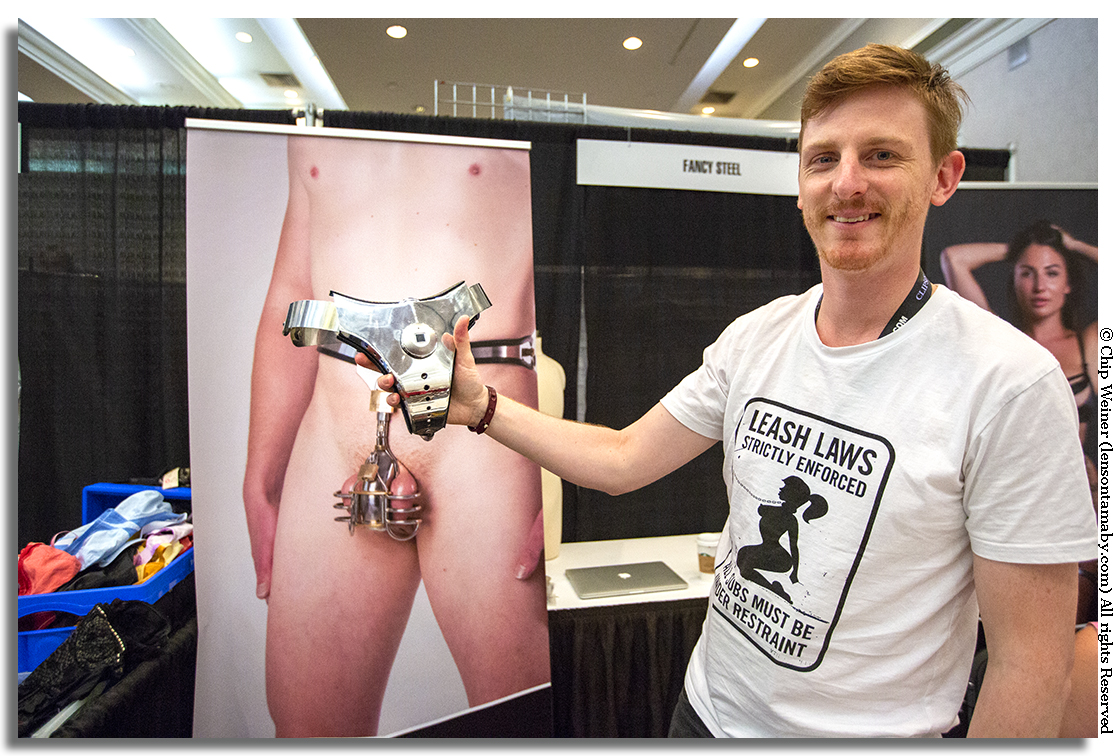 Josh with Fancy Steel traveled from Australia for Fetish Con and sells modern day chastity belts- mostly for men. Here high tech meets the fetish world with a belt opened by a fingerprint sensor.