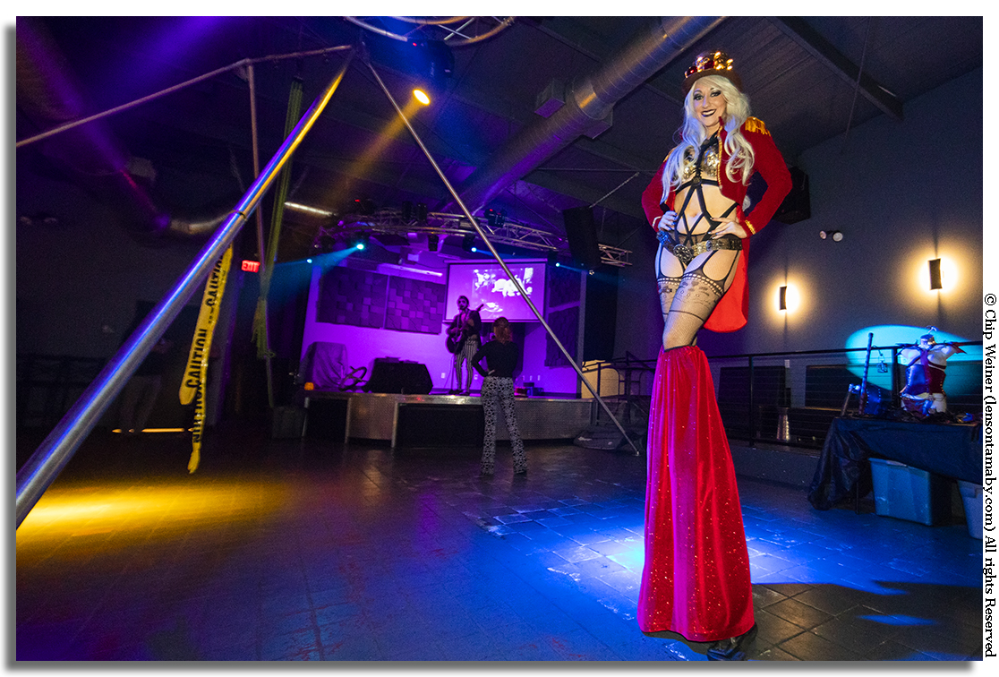 There were two stilt walkers during the show. Here Holly Havok performs at the Pegasus Niteclub Suspension show