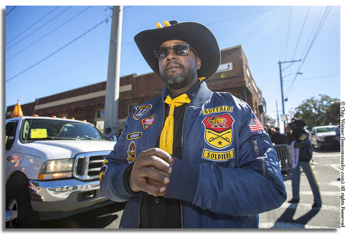 The Buffalo Soldiers organization was in the house with their float and a large group of representatives.