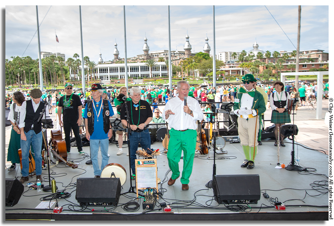 Buckhorn acknowledges Medal of Honor recipients Robert  O'Malley and James Charles McCloughan, both Irish, on stage at the River O'Green Festival 2019 before signaling the official start of the festival and the greening of the river