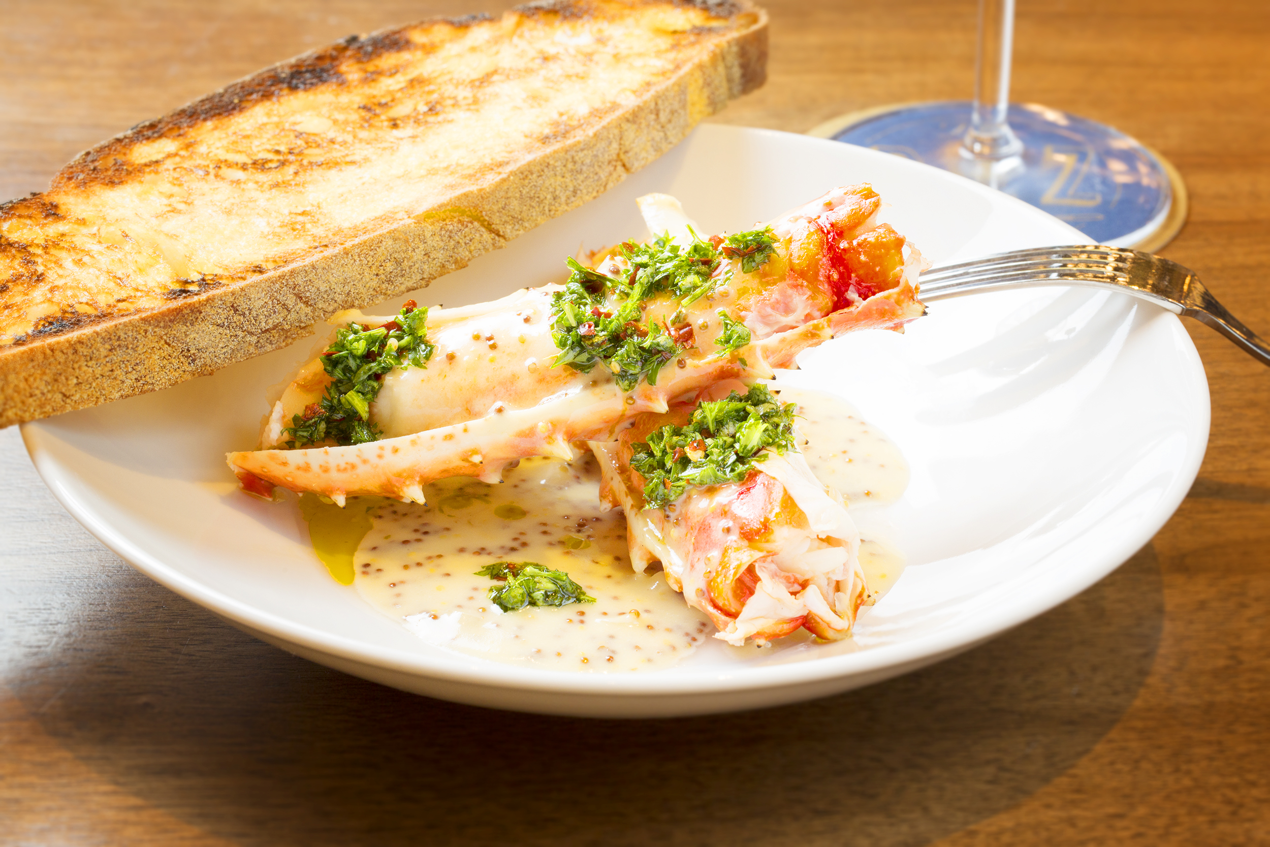 King Crab appetizer- grilled cracked legs, grainy mustard, butter, chimichurri 2.jpg