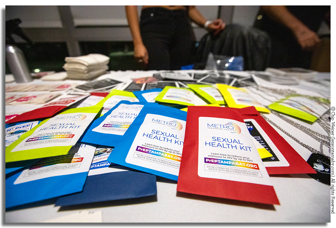 Health kits are free and help with HIV education and prevention. It's a big part of what Metro health does.