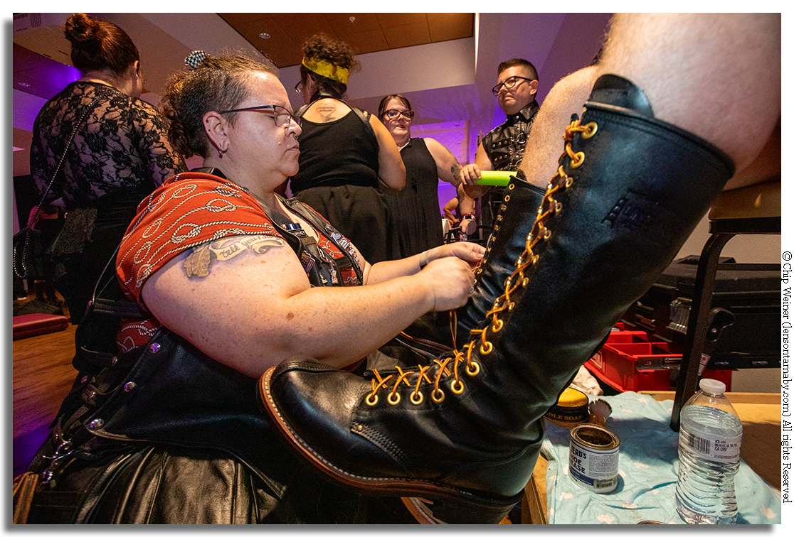 Kali Sinclair is a bootblack and is a member of Florida Community Bootblack. Someone has to care for all that hide!