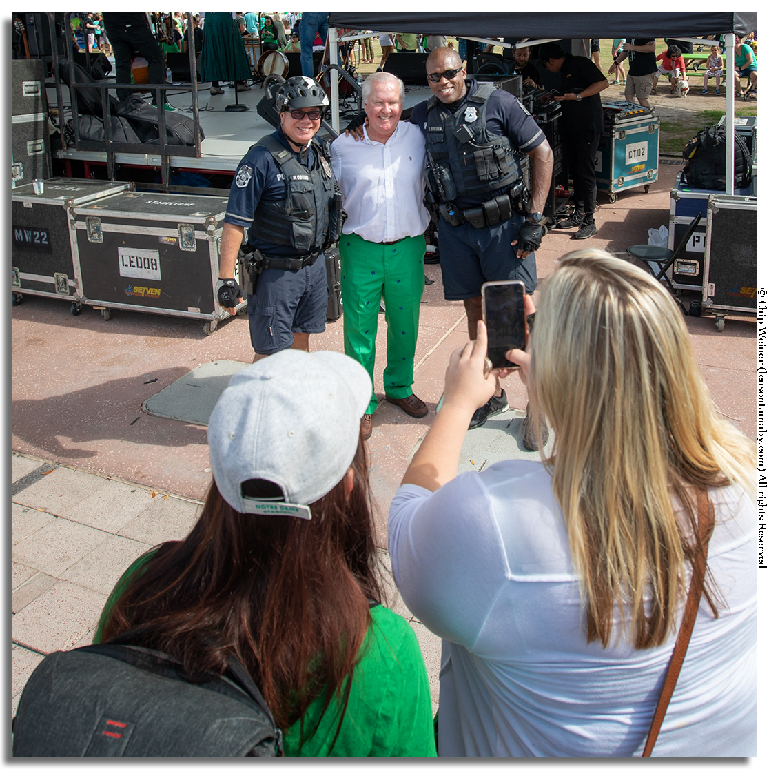 I asked Mayor Buckhorn if he was ready to leave office. He said on his last day we would find claw marks on his desk where they dragged him out. He is seen here posing with two Tampa Police officers.