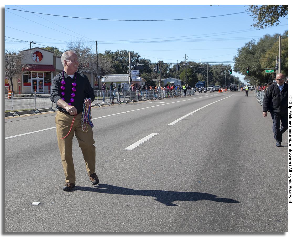 Speaking of Tampa mayors, Bob Buckhorn has had eight years to get his bead throwing arm in shape.