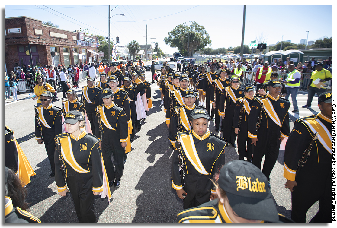 Blake High School brings a large contingent in their marching band