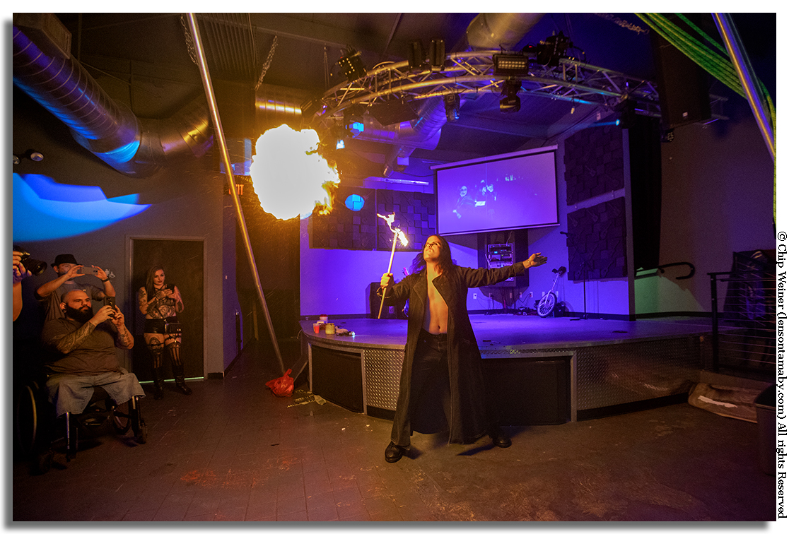 Fire Breathing at the Pegasus Lounge for the Suspension and Carnival show
