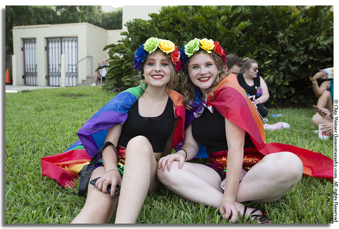 Both of these charmers in floral headdress hail from Washington state and are attending their first Pride event