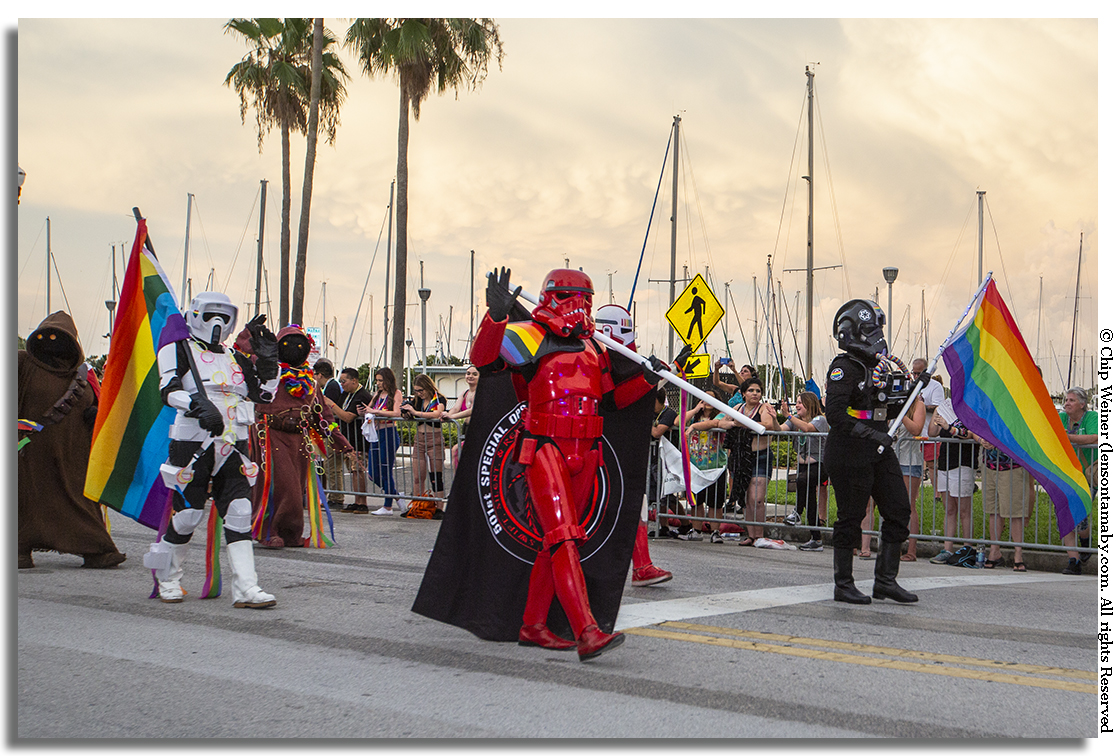 Yes, even storm troopers and took part. Here the 501st Special Ops contingent present Shadow Stormtroopers, Shadow Scouts, Magma Stormtroopers, Nova and Nova Elite Stormtroopers, showing their pride