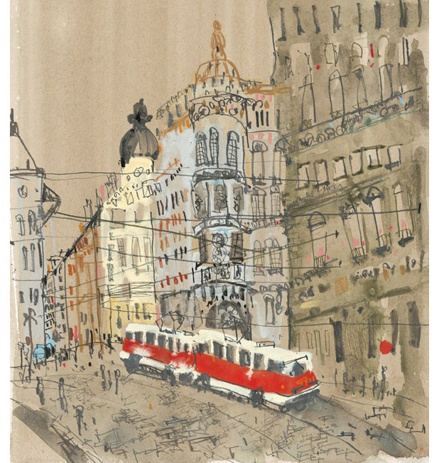 'Red Tram Prague'  Giclee print 34.5 x 38 cm Edition size 195   £145
